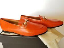 New Gucci Jordaan Horsebit Leather Loafers Women's Flats Slip-On Orange 40.5
