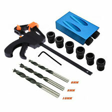 Pocket Hole Jig Kit 15° Angle 6//8//10mm Adapter Drill Set Tool Woodworking X2D6