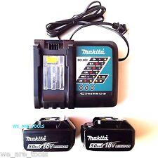 2) NEW Makita LED GAUGE BL1850B-2 18V GENUINE Batteries 5.0, (1) Charger 18 Volt