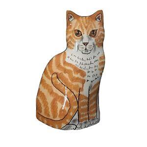 "Cats By Nina Lyman Cat Vase 11.5 "" Orange WhiteTabby Orange Eyes Ceramic New"