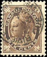 1897 Used Canada 6c F+ Scott #71 Queen Victoria Maple Leaf Stamp