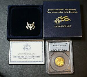 2007 W PCGS PR70 $5 Jamestown Proof Commemorative Gold Coin With COA and OGP