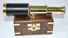 Vintage Telescope Brass Leather Marine Pirate Nautical Wooden Box Decor 6 Inch