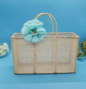 Decorative Wire and Burlap Basket Lightweight Tote Shaped With Blue Flower