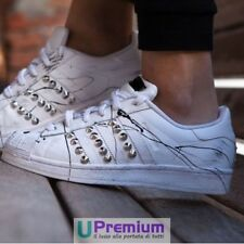 Adidas Superstar All White Cumshots Black Studs Silver [Product Customi