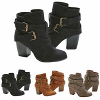 Womens Ankle Boots Buckle Mid Block Heels Waterproof Casual Shoes Sizes Chelsea