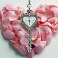 Miniature Shining Rhinestones Heart Pendant Necklace Mini Pocket Watches Gifts