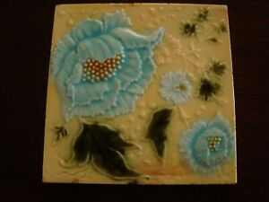 Pretty Art Nouveau ceramic raised majolica blue floral and leaf tile   20/220