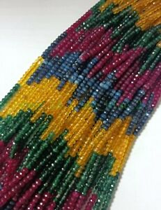 2x4mm Faceted Multicolor Jade Gemstone Rondelle Loose Beads 15'' Strand