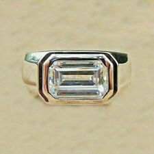Men's Solid 14K White Gold 3.50Ct Emerald Cut Diamond Solitaire Wedding Ring