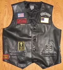 Wilson Leather Harley Davidson Biker Vest Church Special Forces Ranger Airborne