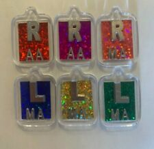 Three pairs hologram glitter xray  (3 R and 3 L) with initials