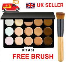Pro 15 Colour Concealer Palette Kit With Brush Face Makeup Contour Cream Neutral
