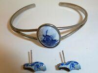 Adorable Vintage Delft Sterling Shoe Stud Earrings and Delft Windmill Bracelet