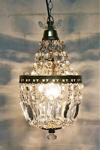 A Vintage French Crystal Glass Bag Chandelier Ceiling Light Antique Style #2