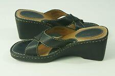 Born Wedges Womens Size 8 39 Black Leather Sandals Slides Heels Slip On Shoes