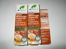2 x 30ml DR ORGANIC Moroccan Argan Oil Instant Tightening Eye Serum (Anti-aging)
