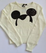 H & M DISNEY JUMPER  CREAM WITH  BLACK SEQUIN MICKEYMOUSE MOTIF SIZE 10 EU38