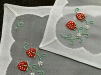 2 Vintage Cocktail Napkins MADEIRA Embroidered Red Strawberries Vines Organdy