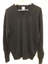 FIRETRAP Mens Black Long Sleeve V Neck Knit Jumper Sweater Cotton Size XL