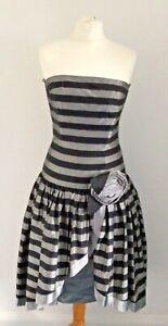 Tr Vtg. 80's Midi Length Bustier Strapless Striped Silk Prom Dress UK 6