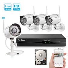 Funlux NVR Funk Überwachungssystem 4 720p WLAN Außen Sicherheitskamera Set 500GB