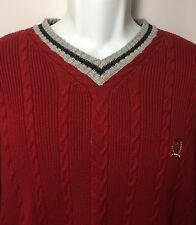 Tommy Hilfiger Men's Large V-Neck Campus Collegiate Red Sweater Pullover