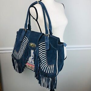 Blue suede fringe Boho beaded  Tote XL laptop collage bag shopper