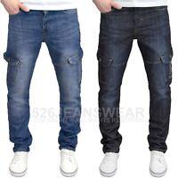Enzo Men's Designer Regular Fit Straight Leg Multi-Pocket Cargo Jeans, BNWT