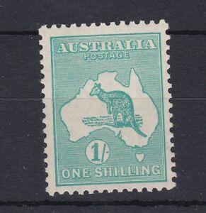 K809) Australia 1929 1/- Deep blue-green Kangaroo small multiple watermark