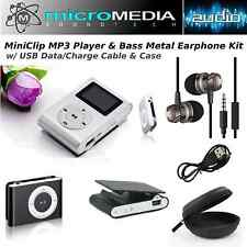 ST MiniClip MP3 Player Card Reader & Bass Metal Headphones Bundle -Cable Case