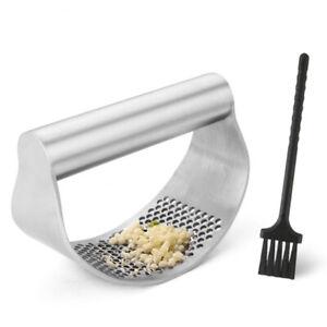 Stainless Steel Garlic Press Crusher Manual Rocking Mincer Squeezer With Brush