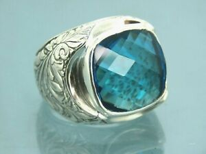 Turkish Handmade Jewelry 925 Sterling Silver Aquamarine Stone Men Ring Sz 10