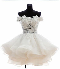 Off the Shoulder Sheer Lace Short Ball Gown Wedding Dresses Garden Bridal Gowns