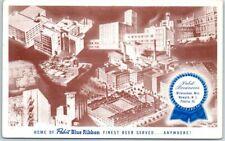1951 PABST BREWERY Postcard Milwaukee Newark Peoria PBR Blue Ribbon Beer UNUSED