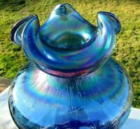 "Rare--Fenton 1991-92 Large Twilight Blue Crackle Iridescent Vase 11""H x 8.5""W"