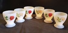 6 coquetiers ARCOPAL FLEURS ROSES ROUGES & BLANCHES vintage egg cups french dish