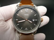 NEW OLD STOCK FOSSIL COMMUTER FS5417 GREY FACE LEATHER STRAP QUARTZ MEN WATCH