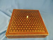 Antique jewelry box square w/red satin lining rings earrings paper covering art