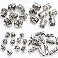 100Pcs Tibetan Silver Tube Charms Spacer Bead For Jewellery Making Crafts