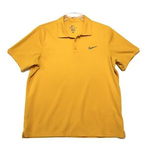 NIKE Dri Fit Polo Golf Shirt Mens L Large Yellow Orange Short Sleeve 3 Btn LOGO