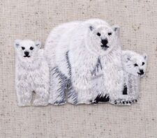 Polar Bear Family/Mom/Two Cubs White/Arctic Iron on Applique/Embroidered Patch