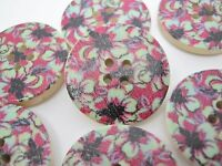 "6 Floral Sewing Buttons 25mm (1"") Wooden Flower Focal Buttons Crafts"
