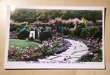 Canada BC Victoria Rose Garden The Butchart Gardens 1955 Robert Creek Postcard
