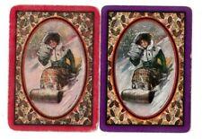 2 VINTAGE WIDE US NMD PLAYING CARDS TOBOGGAN GIRL LADY IN SNOW FUR MUFFS  C1900