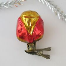 Flower Bud Rose Vintage Xmas Decor Christmas Russia Glass Red Gold Ornament Ussr