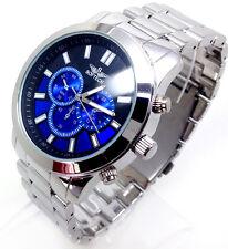 369S Men's Latest Fashion Wrist Watch Metal Silver Strap Blue Chronograph Dial