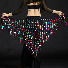 Women Veil Costumes Belly Dance Hip Scarf Wrap Belt Skirt Sequins triangle scarf
