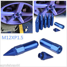 20in1 Blue Spiked Shape Aluminium Car Wheel Extended Lug Nuts Decor Kit M12XP1.5