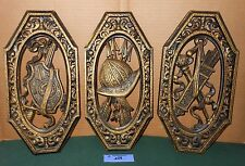 3 Vintage Homco Home Interior Ornate Spanish Medieval Coat of Arms Wall Plaques